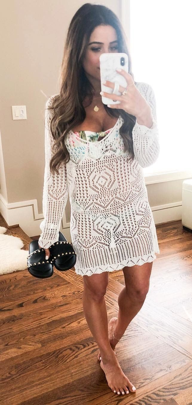 white lace long sleeved mini dress #spring #outfits