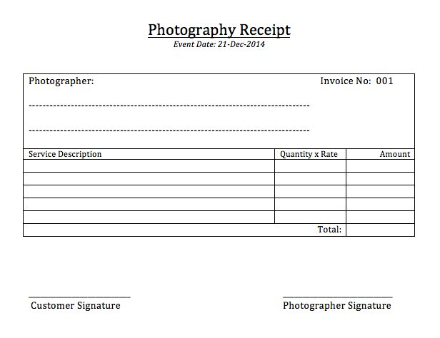 Sample Receipt For Services Service Receipt Template 10 Free - photography invoice template