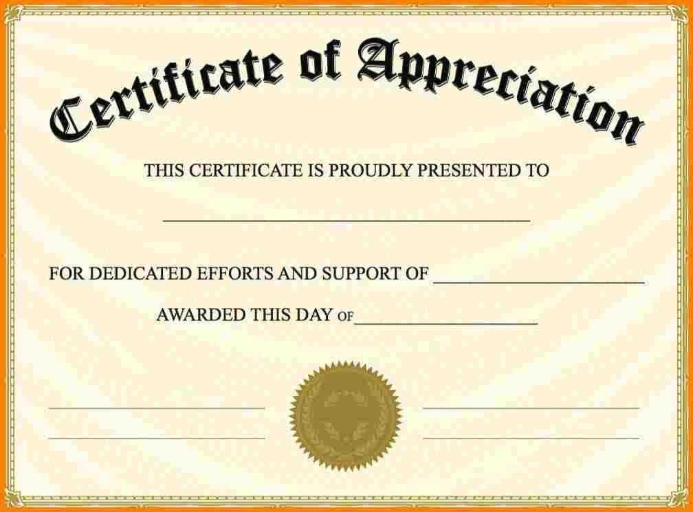 Word Certificate Of Appreciation Template Sample Certificate Of - certificate of appreciation words