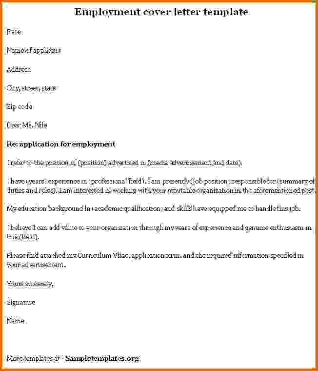 Cover Letter For Employment Free Resume Cover Letter Examples - letter of employment