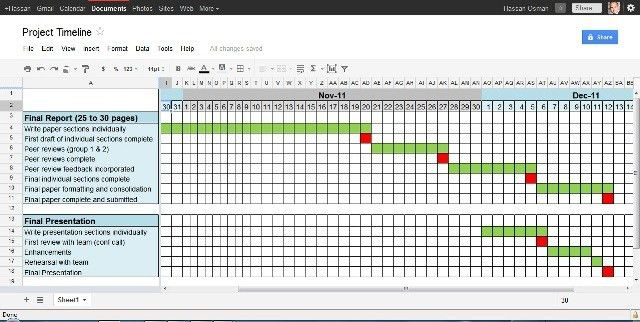 template excel project timeline