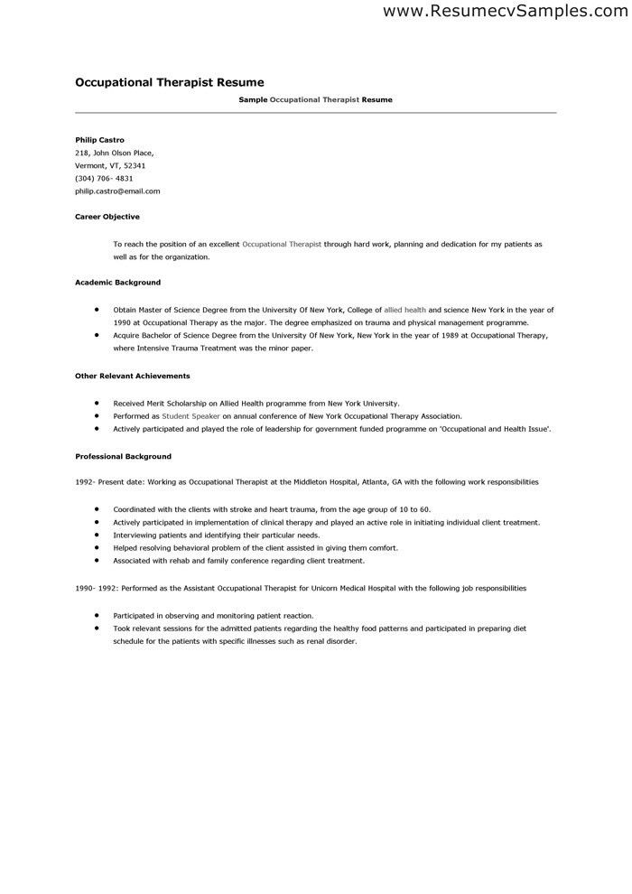 occupational therapy resume examples