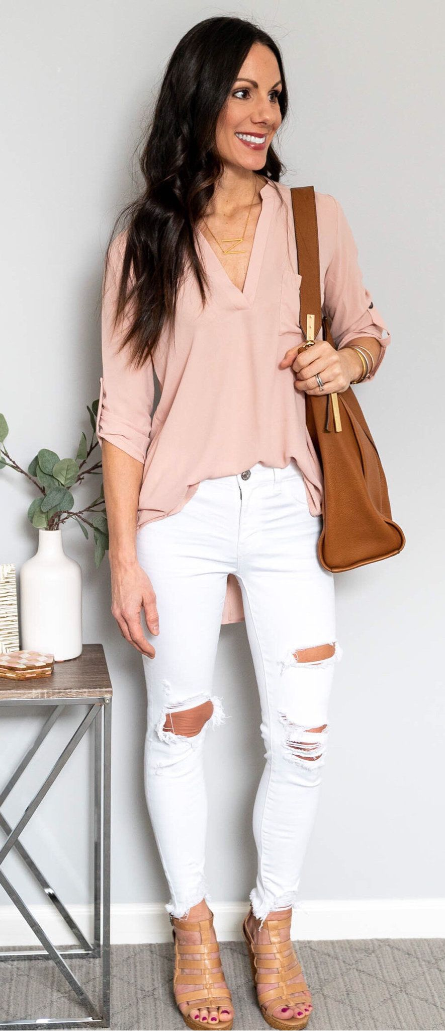 pink long-sleeved blouse #spring #outfits