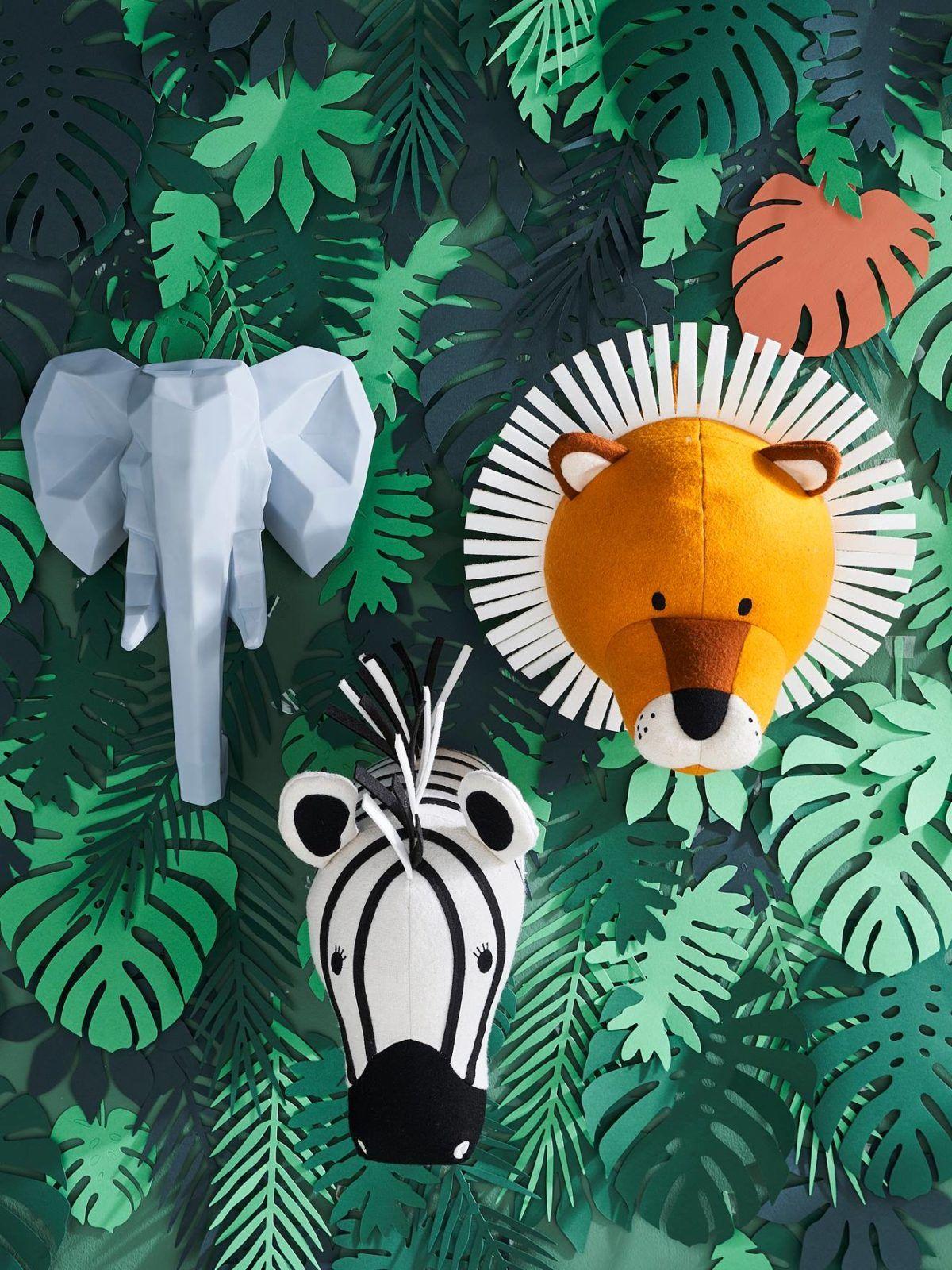 Faux trophée peluche mural éléphant zèbre lion pour décoration chambre enfant bébé