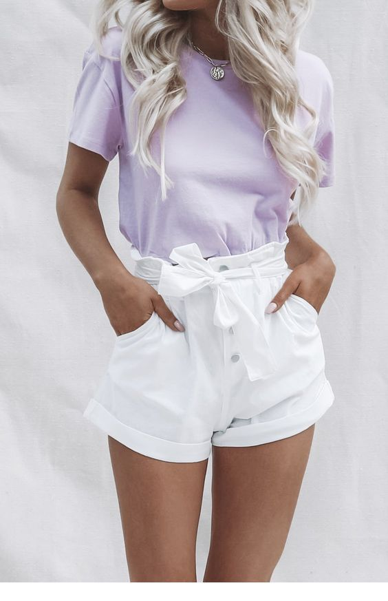 Cute light purple top and white shorts