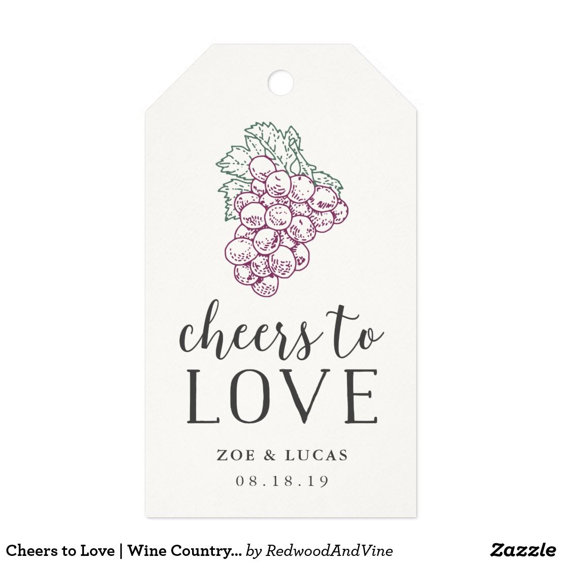 Cheers to Love | Wine Country Wedding Favor Gift Tags | Perfect for Winery Wedding