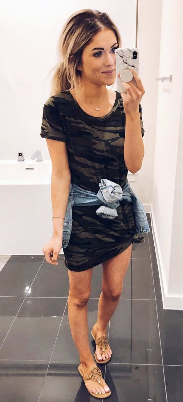 black and gray camouflage short-sleeved mini dress #spring #outfits