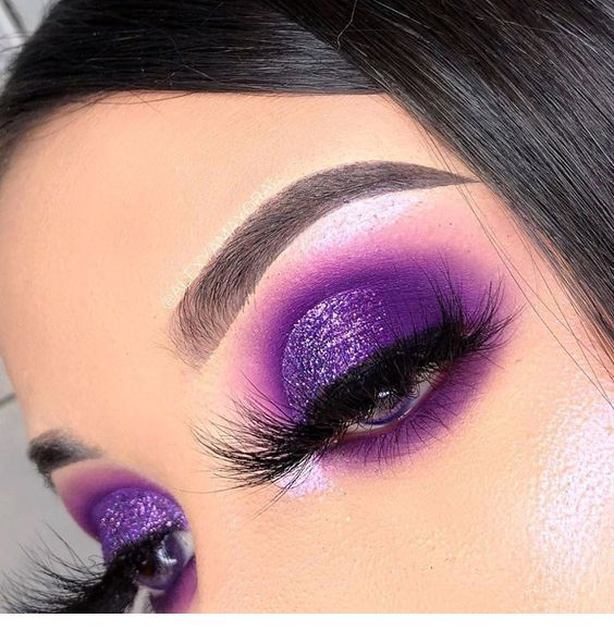 Purple glitter for eye makeup
