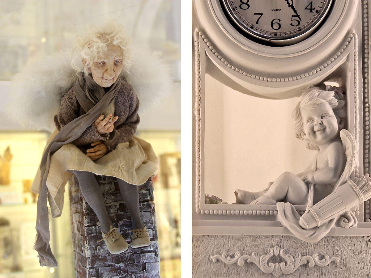 Слева ангел Жанны Кальман, справа - ангелок с часами из коллекции музея. Фото: Evgenia Shveda