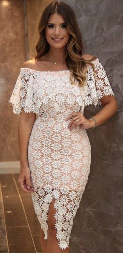 Cute summer lace white dress