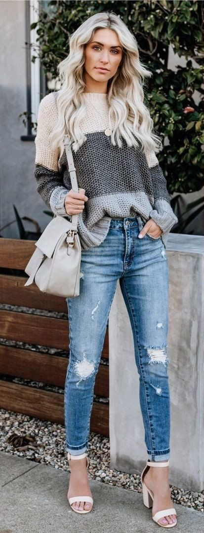 beige and gray striped sweater and blue distressed jeans #spring #outfits