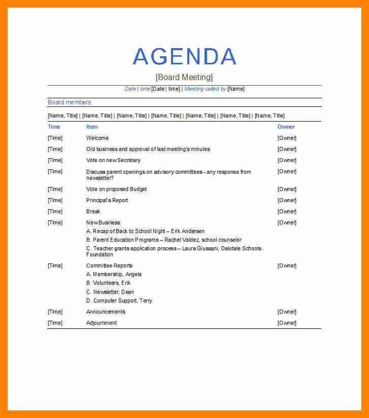 Nonprofit Board Meeting Agenda Template Board Meeting Agenda 11 - sample board meeting agenda