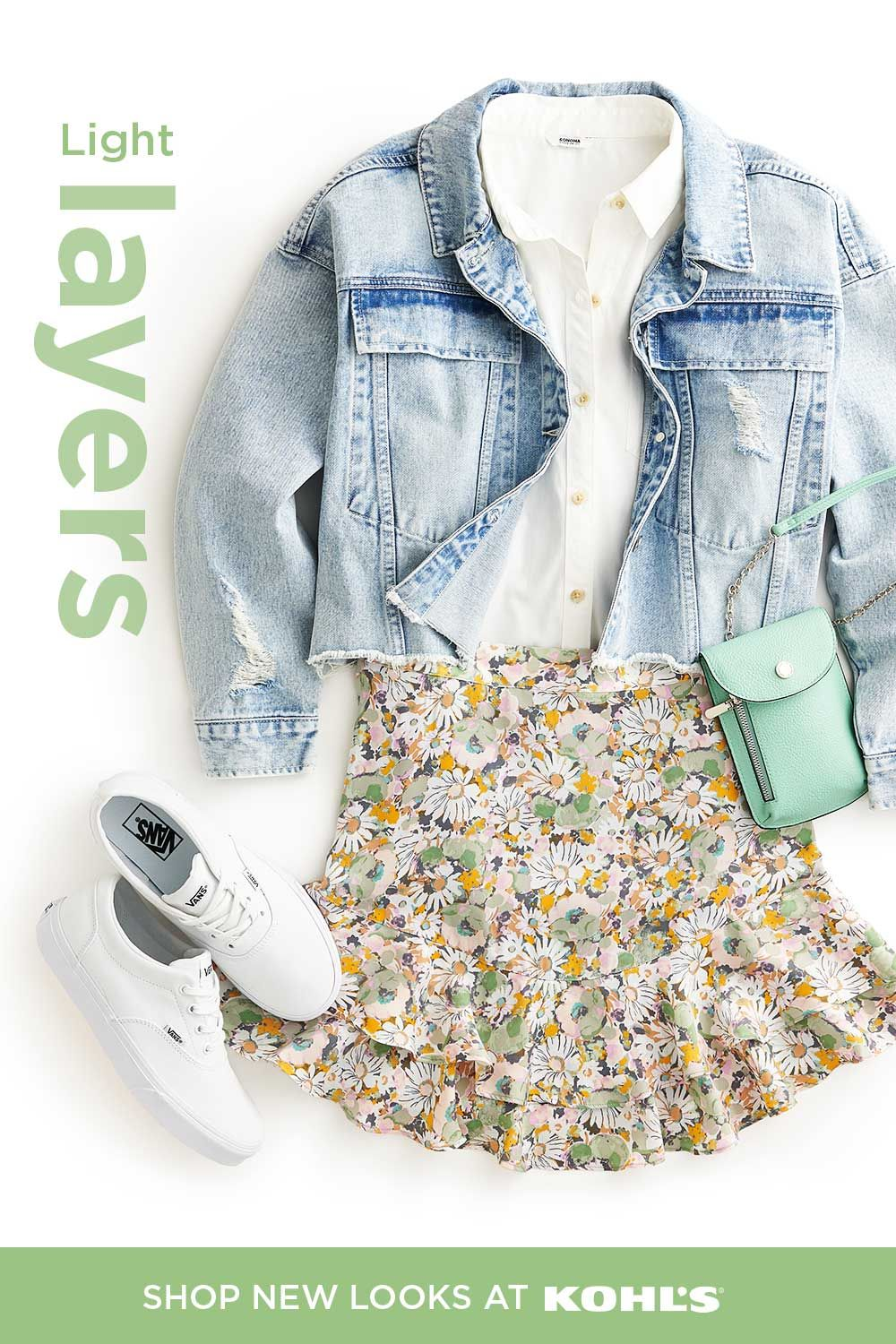 Upgrade your spring wardrobe with light layers that'll last you all season long. Tuck a white button-down into a cute floral skirt. Throw on a cropped denim jacket for some extra warmth and style. Then finish the look with a pair of sneakers and a cute mint crossbody. Shop LC Lauren Conrad, Apt. 9 and more at Kohl's and Kohls.com. #springstyle #ootd