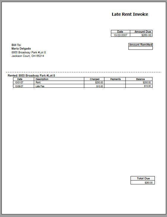 Rent Invoice Sample Billing Statement Template, Rent Invoice - billing statement template