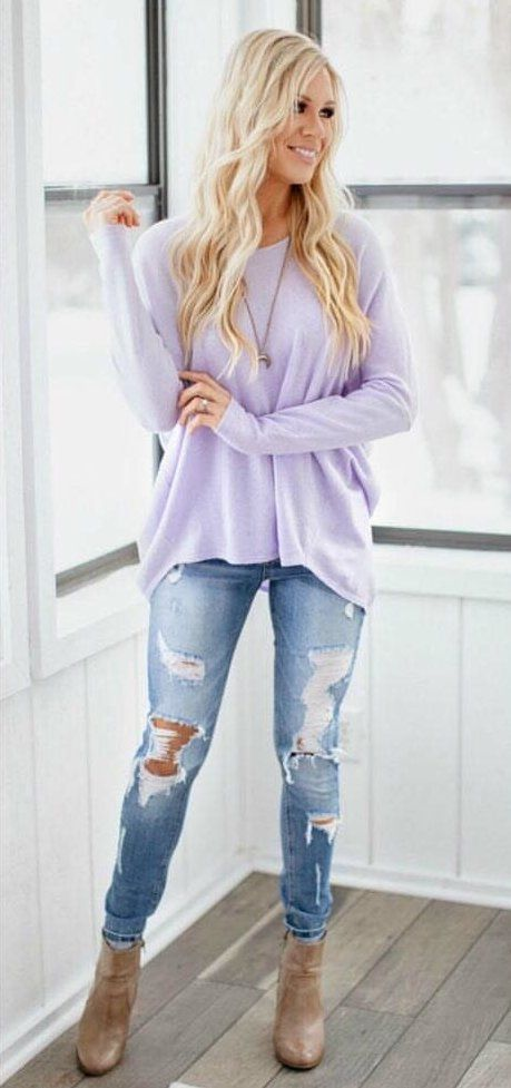 purple crew-neck long-sleeved shirt #spring #outfits