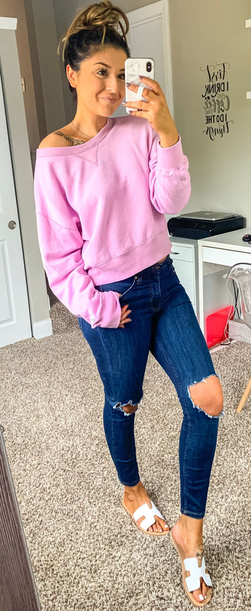 pink sweater #summer #outfits