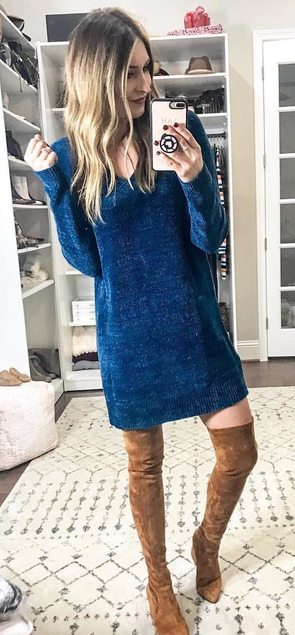 blue long-sleeved dress