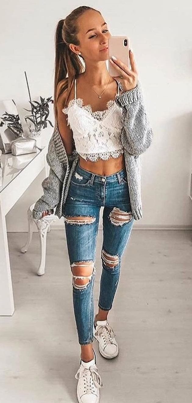distressed blue jeans #spring #outfits