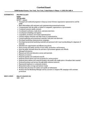 public relations specialist resume node2003-cvresumepaasprovider