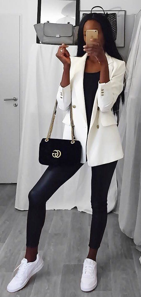 white blazer and black jeans #spring #outfits