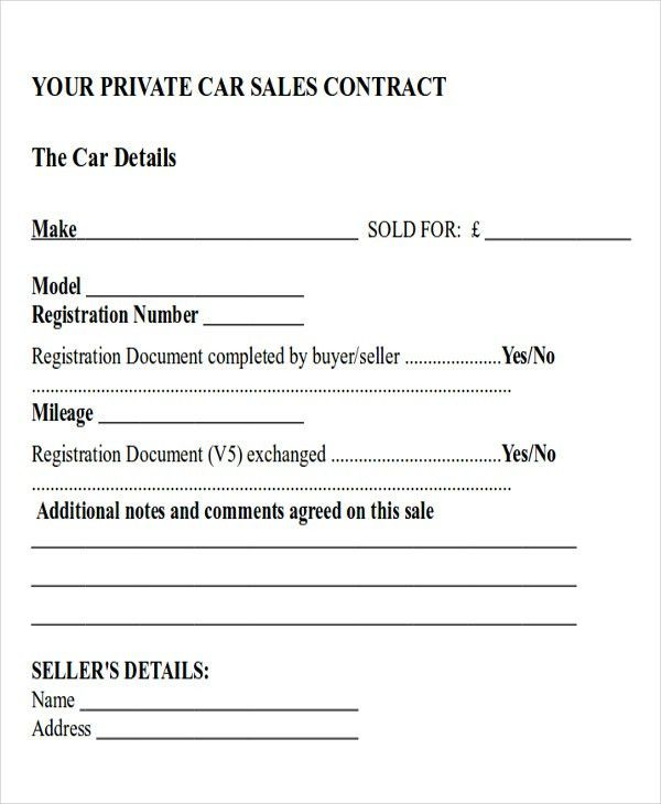 Private Car Sale Contract Payments Sample Car Sale Contract Forms - private car sale contract payments