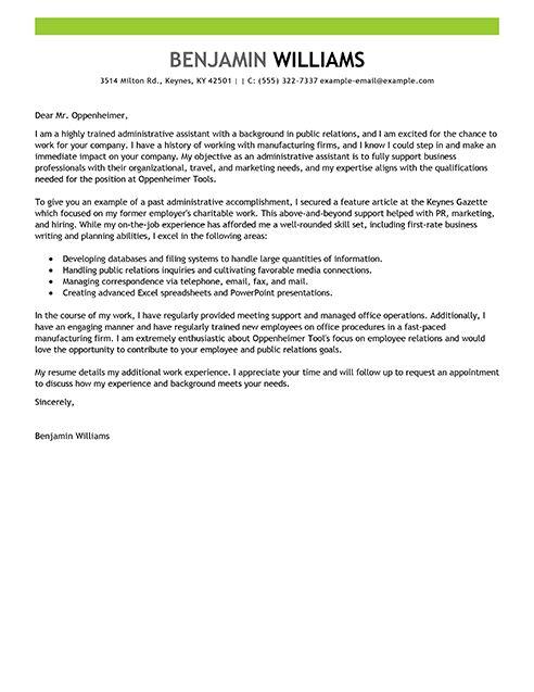 Sample Administrative Cover Letter Administrative Assistant - cover letter for office assistant