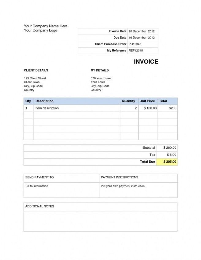 Google Docs Invoice Template Blank Invoice Template Free For - google invoices templates