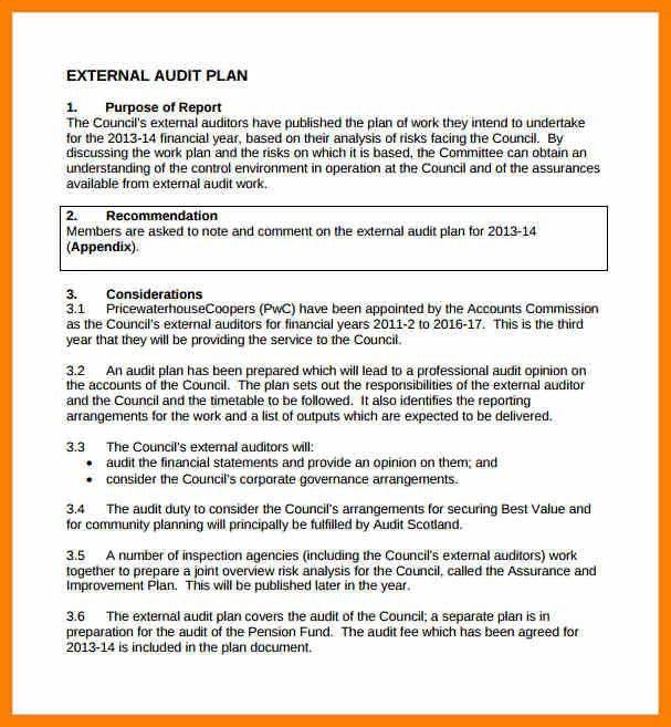 sample audit plan format