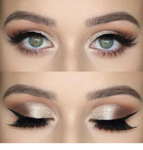 Gold and some brown – eye makeup