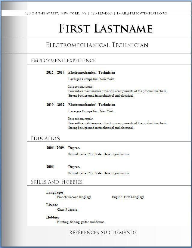 Free Printable Resume Templates Microsoft Word Best 25 Free