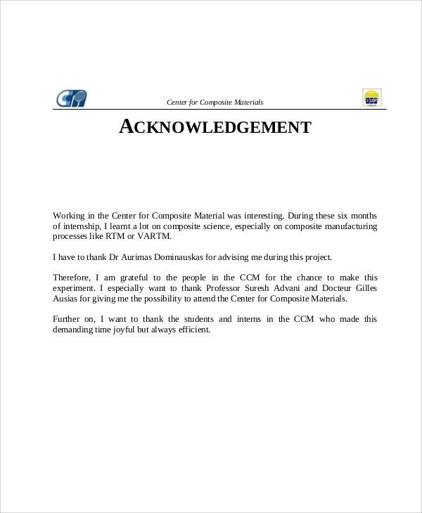Acknowledgement Example 33 Acknowledgement Letter Templates Free - sample internship report template