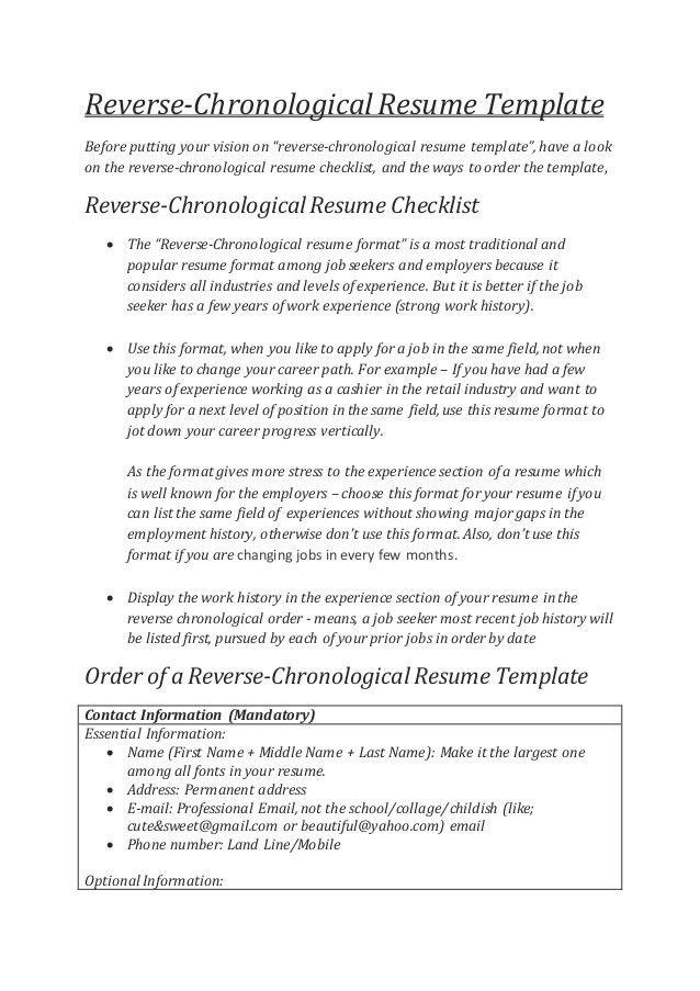 Reverse Chronological Resume Example Reverse Chronological Resume - reverse chronological resume template