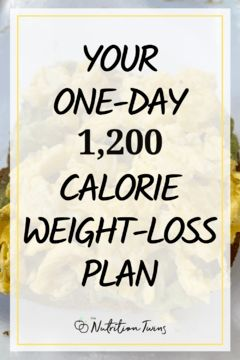 Your One-Day 1200 Calorie Weight Loss Plan. Lose weight with this 1200 Calorie Meal Plan so you can get flat belly. Menu planning makes losing weight easier. #menuplan #1200caloriediet #weightloss For MORE RECIPES, fitness & nutrition tips please SIGN UP for our FREE NEWSLETTER www.NutritionTwins.com