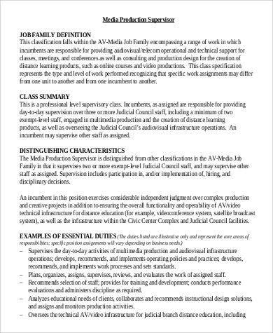 Operations Supervisor Job Description Operations Supervisor - production supervisor job description
