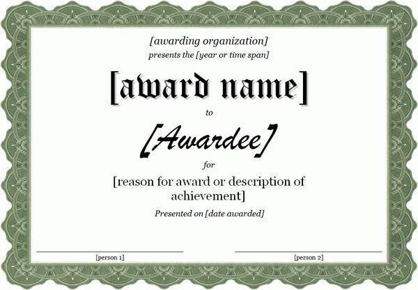 Template For Award Certificate | Certificate Templates  Free Award Templates For Word