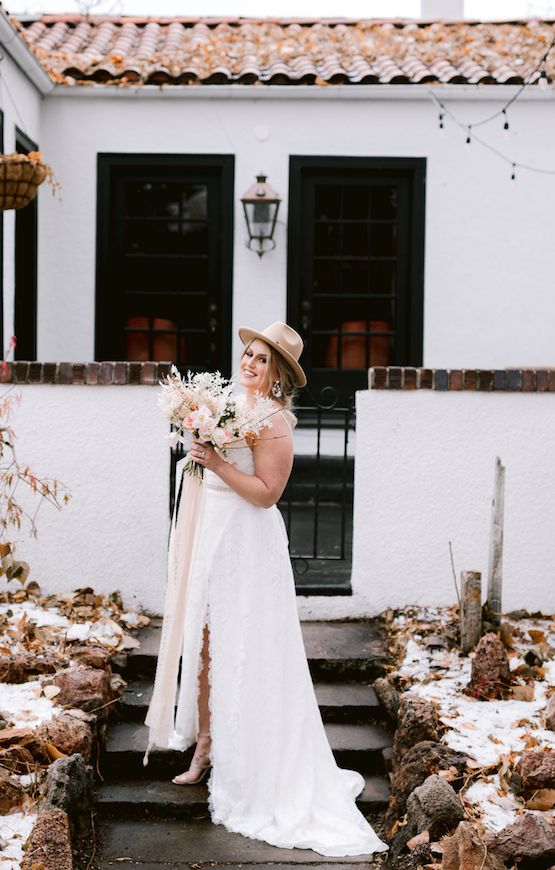 Lace Slit Skirt A-Line Wedding Dress