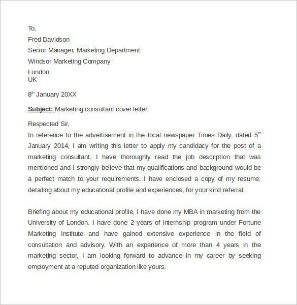 Consultant Cover Letter Senior Cover Letter Consulting, Cover - sample marketing cover letter example