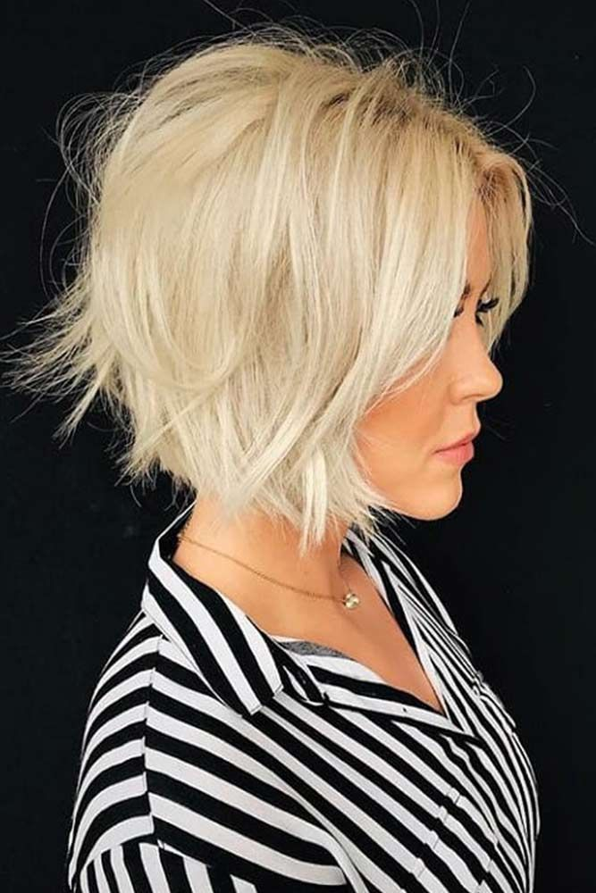 Stylish Careless Blonde Bob #carelesshair #messyhairstyles ★  Short hairstyles for round faces are in trend! If you have blonde hair and a round face, check out these 40 hairstyle ideas. #glaminati #lifestyle #shorthairstylesforroundfaces