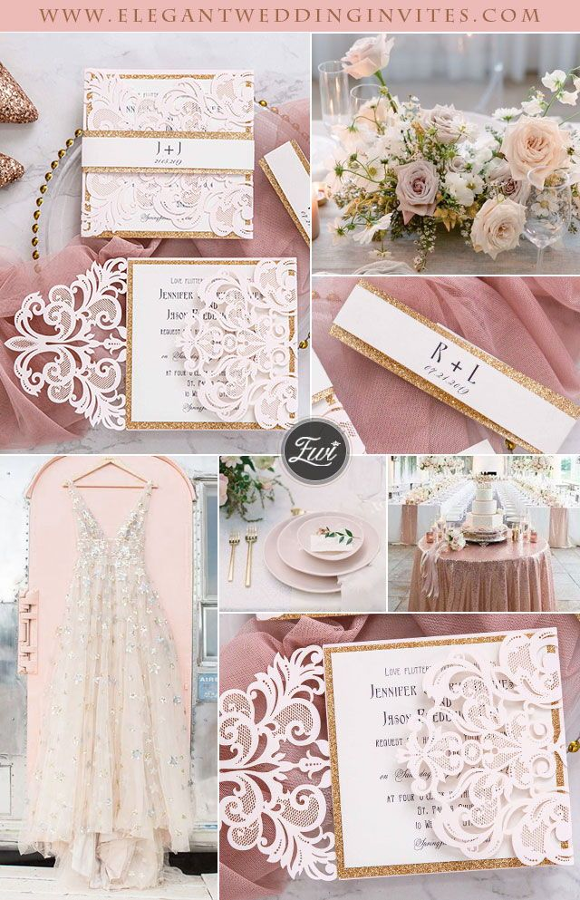 elegant blush pink laser cut wedding invitation with rose gold glitter belly band EWWS146 as low as