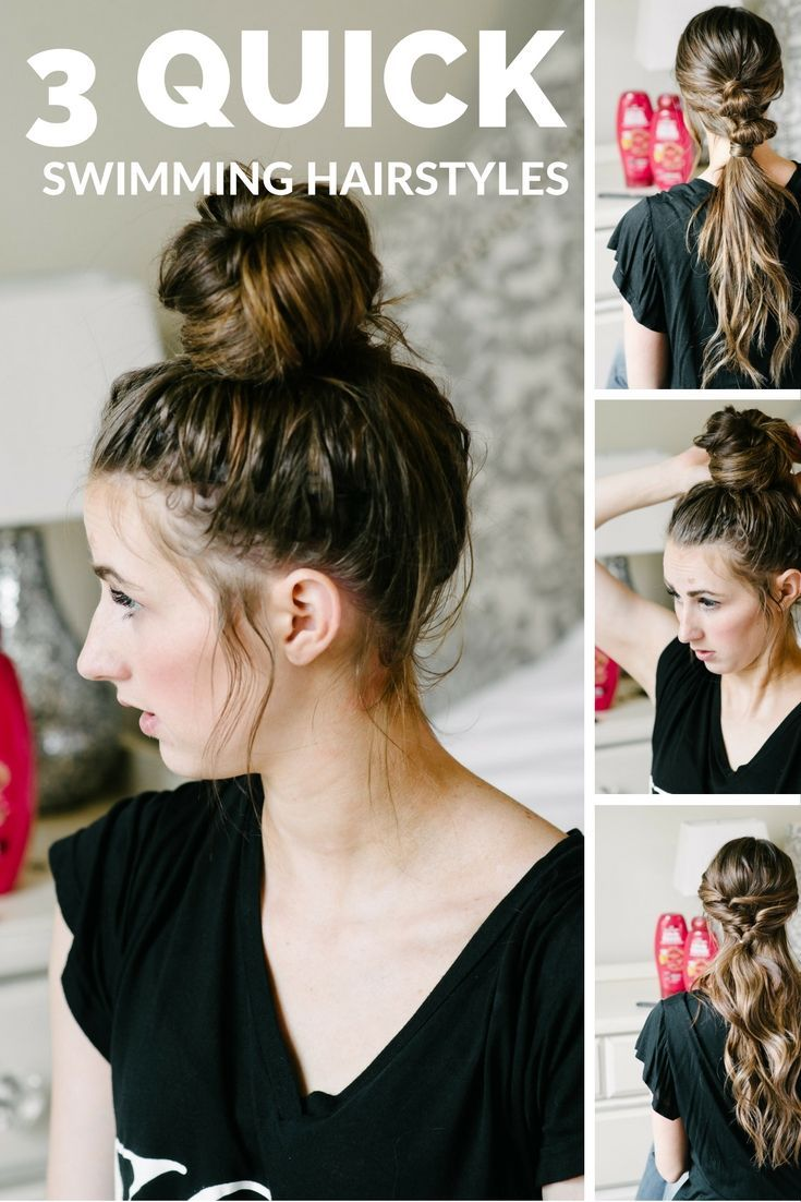 3 Quick and easy simple hairstyles for summer or for swimming! #hairstyle #hairtutorial #summerhair #hair #easyhairstyle #easyhairtutorial #poolhairstyle