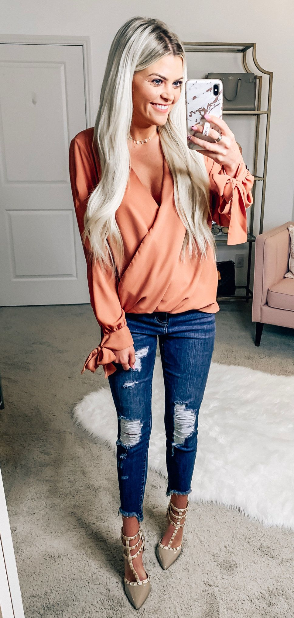 pink deep V-neck long-sleeved blouse #spring #outfits
