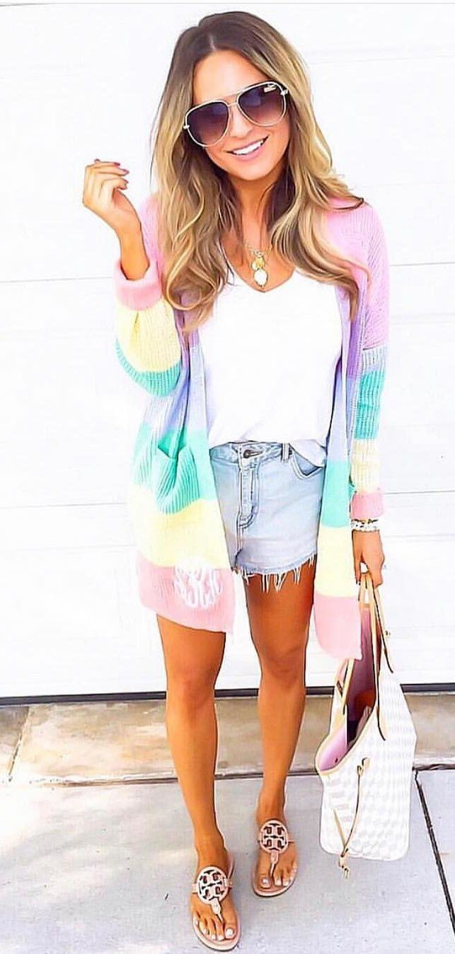 purple and blue long-sleeved cardigan, white tank top, and blue denim short shorts #spring #outfits