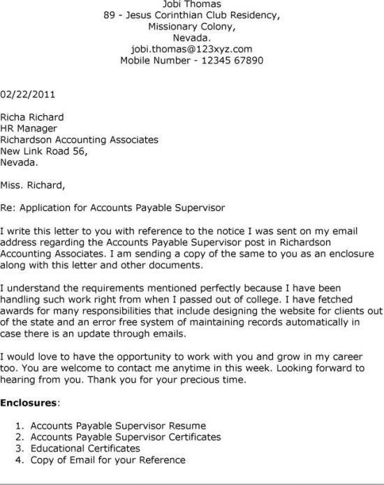 ... Accounts Payable Supervisor Cover Letter Accounts Payable   Cover Letter  For Supervisor ...