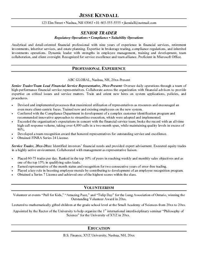 Stock Broker Resume Stock Broker Resume Sample Financial Services