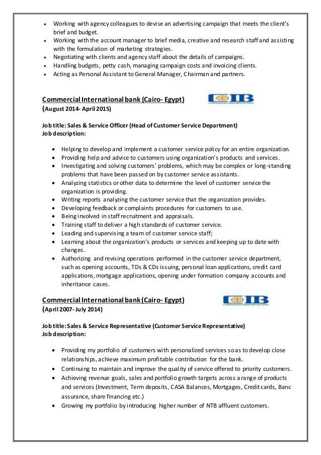 Sample customer service manager job description 9 examples in pdf - customer service manager job description