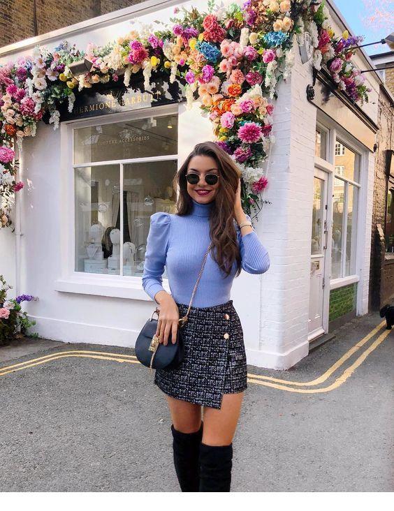 Blue blouse and mini skirt