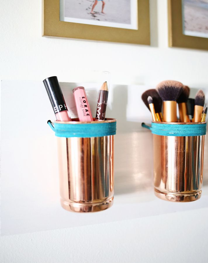 STYLECASTER   storage   organization   storage ideas   makeup storage   makeup organization   a beautiful mess 20 Truly Innovative (and Instagrammable) Ways to Store Your Beauty Products