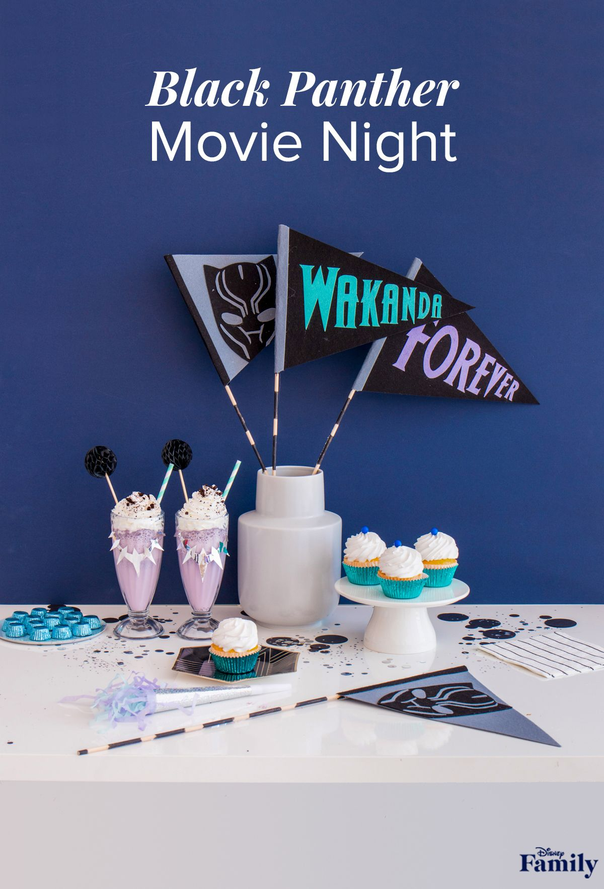Wakanda Forever! Black Panther is such an iconic film for parents and kids alike. So, we put together a fun movie night, incorporating the vibrant colors sprinkled throughout the film. Creating a themed recipe and craft makes any family viewing party extra special. We recommend some felt pennants and delicious milkshakes to get the party started. All you need to add is popcorn! Click through to see how to throw this DIY Black Panther movie night.