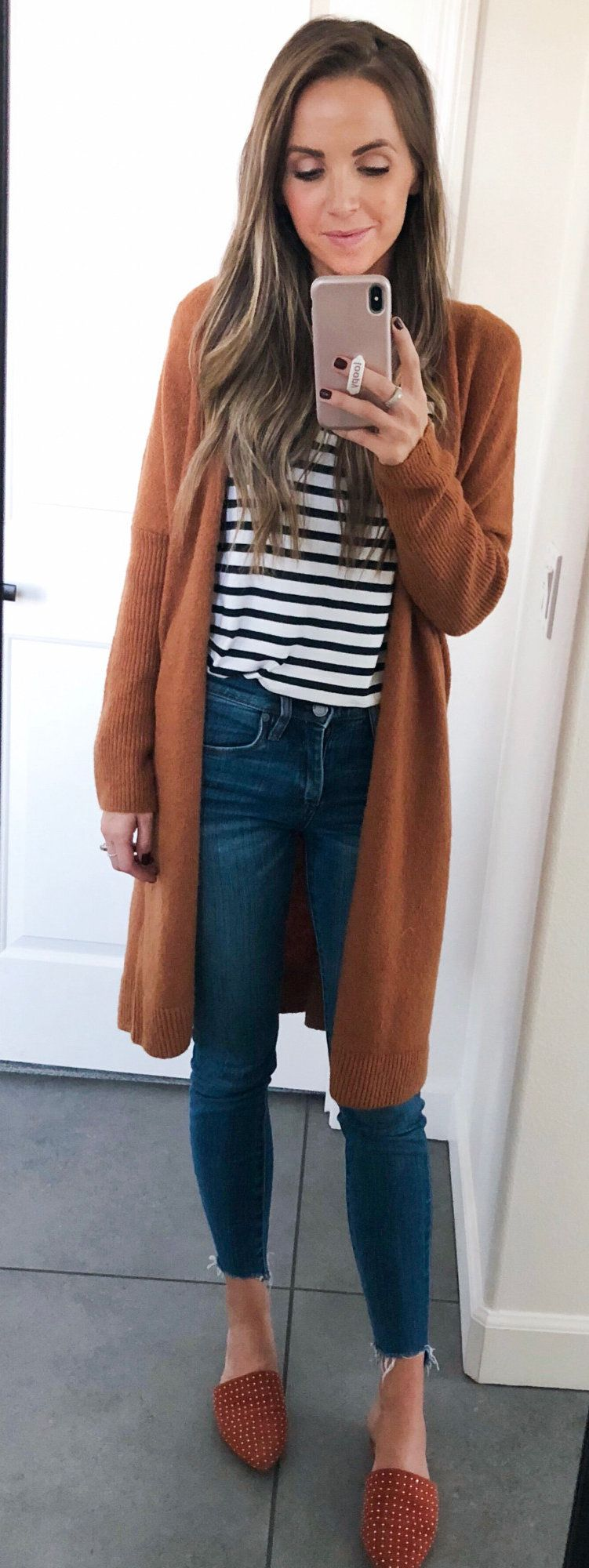 brown knit long cardigan