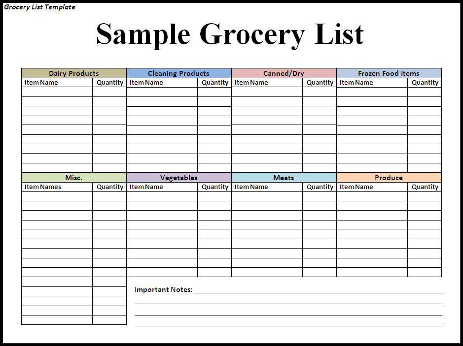 Grocery list template 7 free word pdf documents download - list template